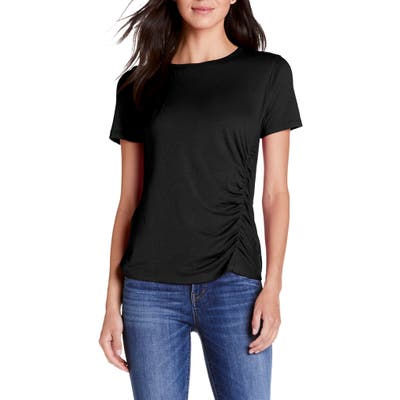 Michael Stars Jess Ultra Jersey Ruched Tee, Black