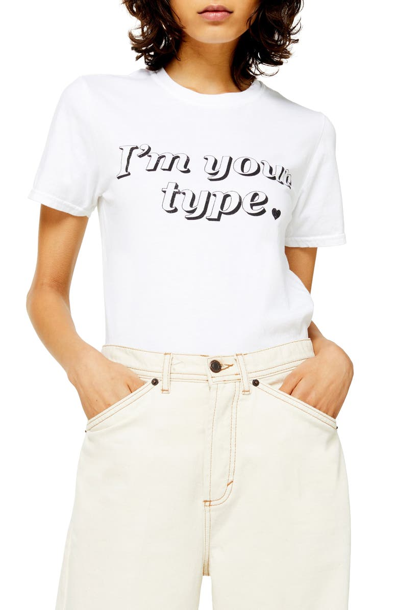 TOPSHOP I'm Your Type Tee, Main, color, WHITE MULTI