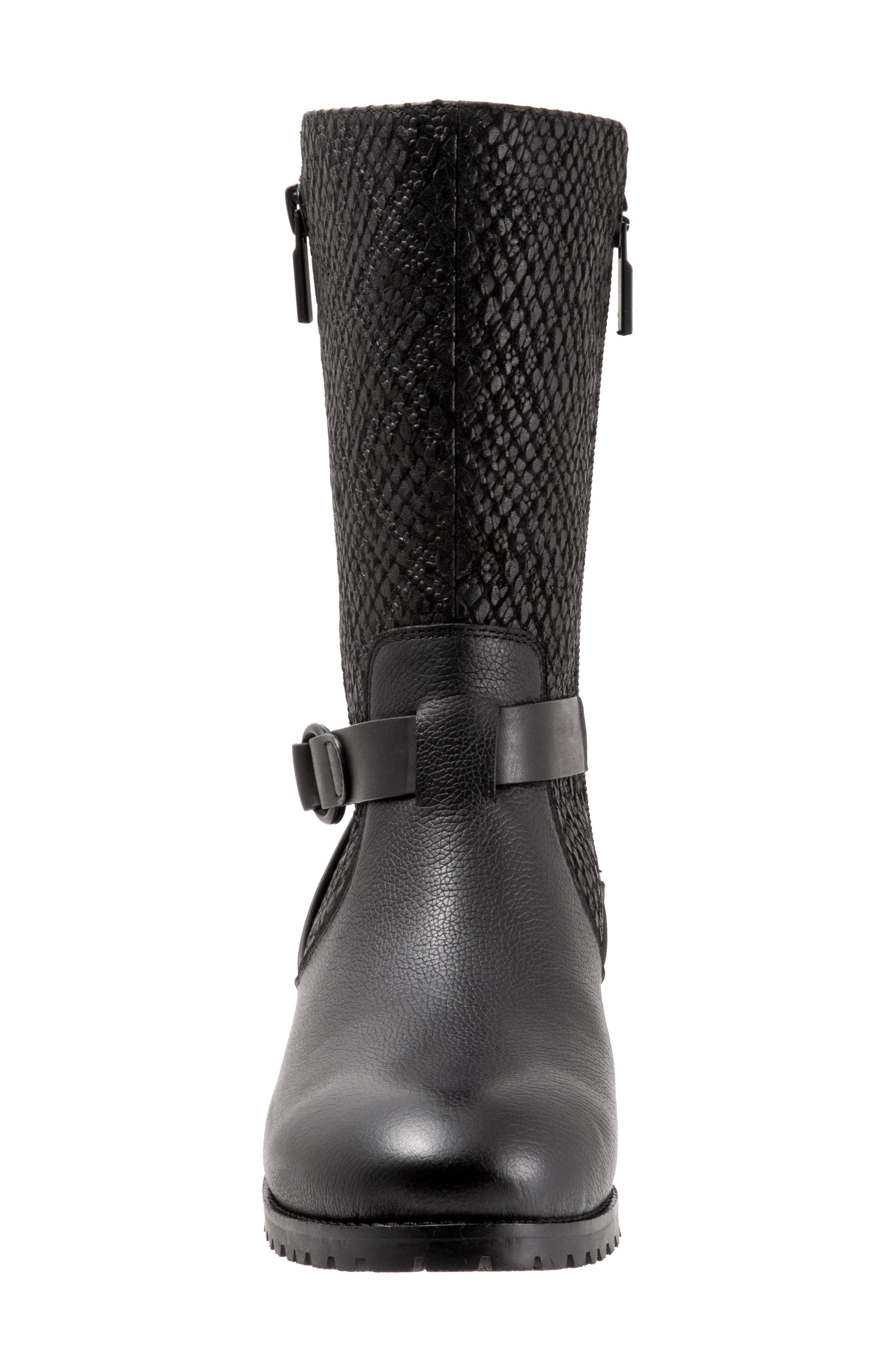 ,                             Marlowe Boot,                             Alternate thumbnail 4, color,                             BLACK REPTILE LEATHER