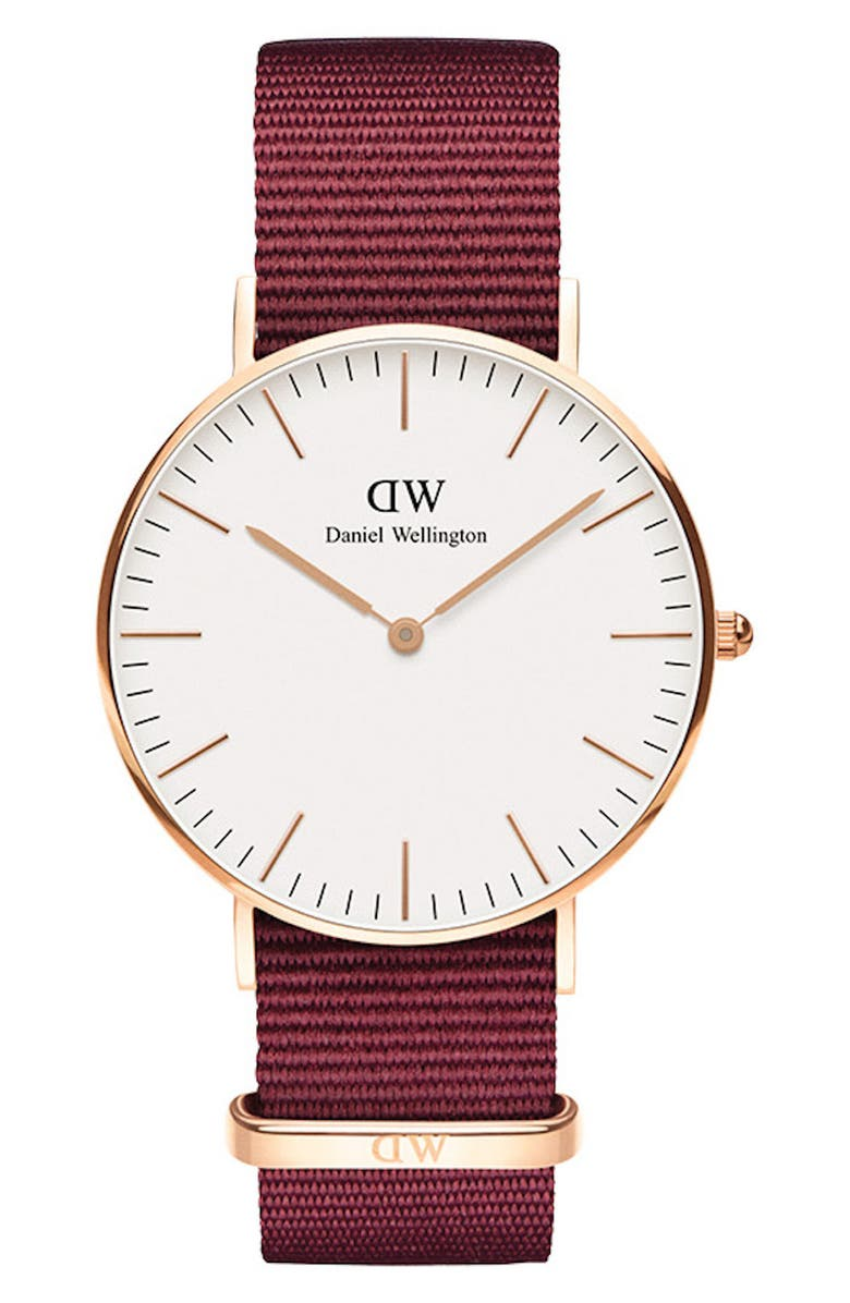 DANIEL WELLINGTON Classic Roselyn Nylon Strap Watch, 36mm, Main, color, RED/ WHITE/ ROSE GOLD