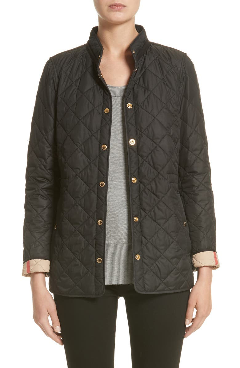 BURBERRY Pensham Quilted Jacket, Main, color, 001