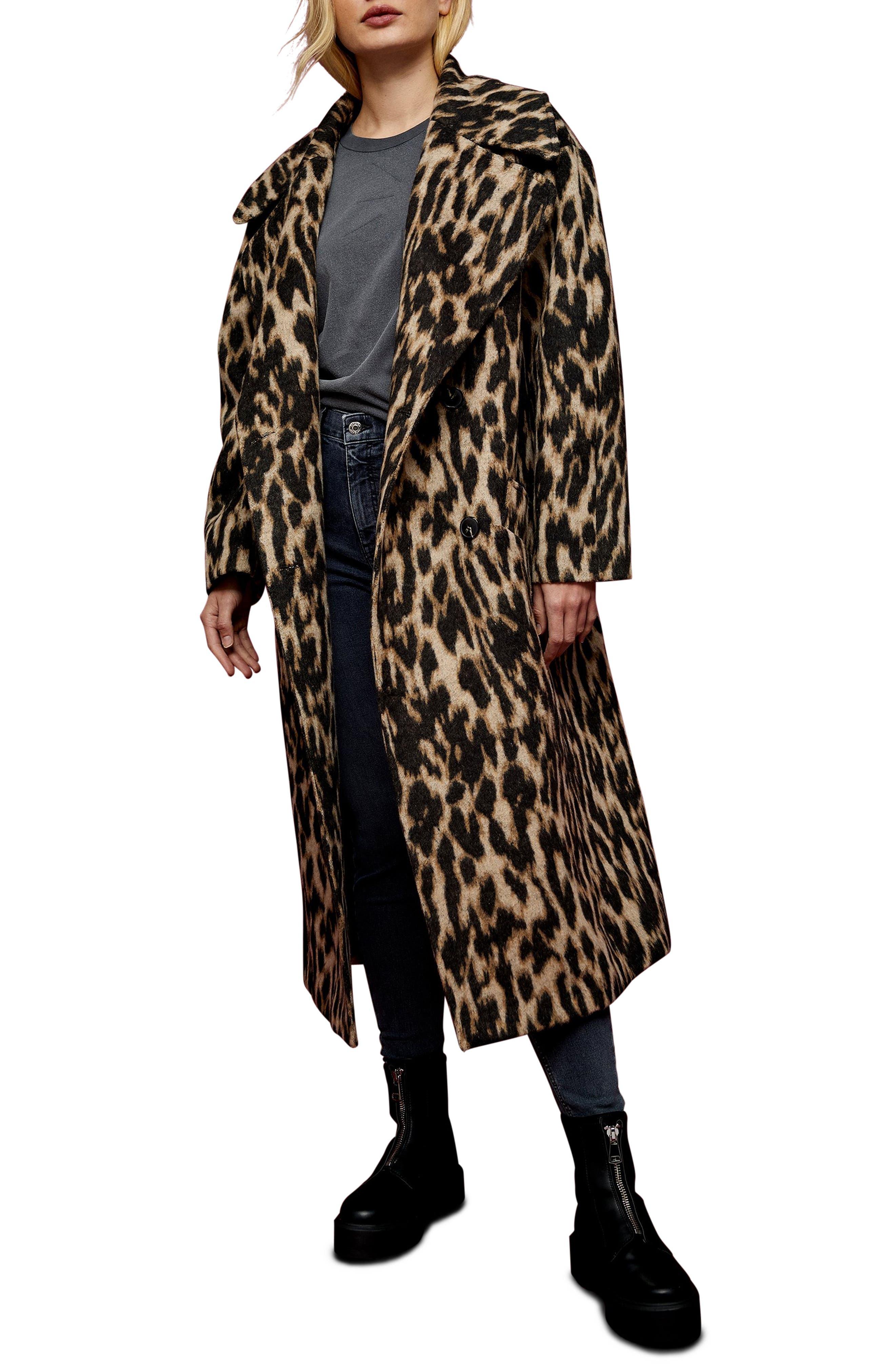 Topshop Leopard Print Maxi Coat | Nordstrom