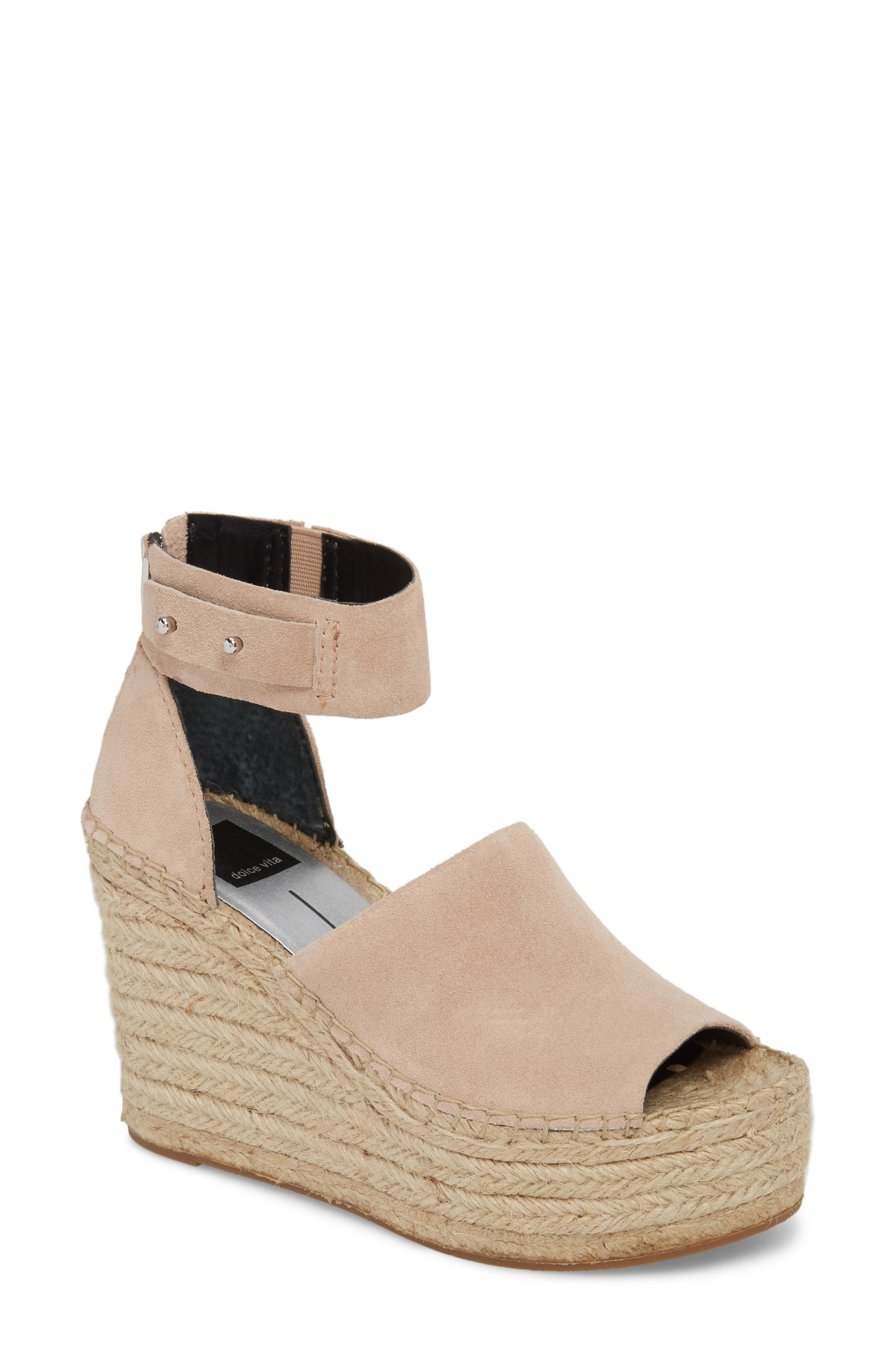 ,                             Straw Wedge Espadrille Sandal,                             Main thumbnail 1, color,                             BLUSH