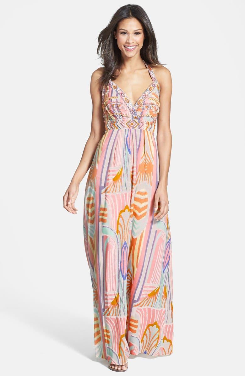 JESSICA SIMPSON Beaded Print Maxi Dress, Main, color, 650