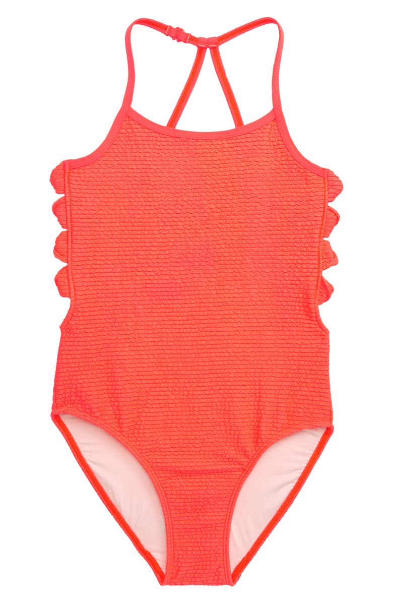 TUCKER + TATE Textured Twist One-Piece Swimsuit, Main, color, CORAL BLAZE