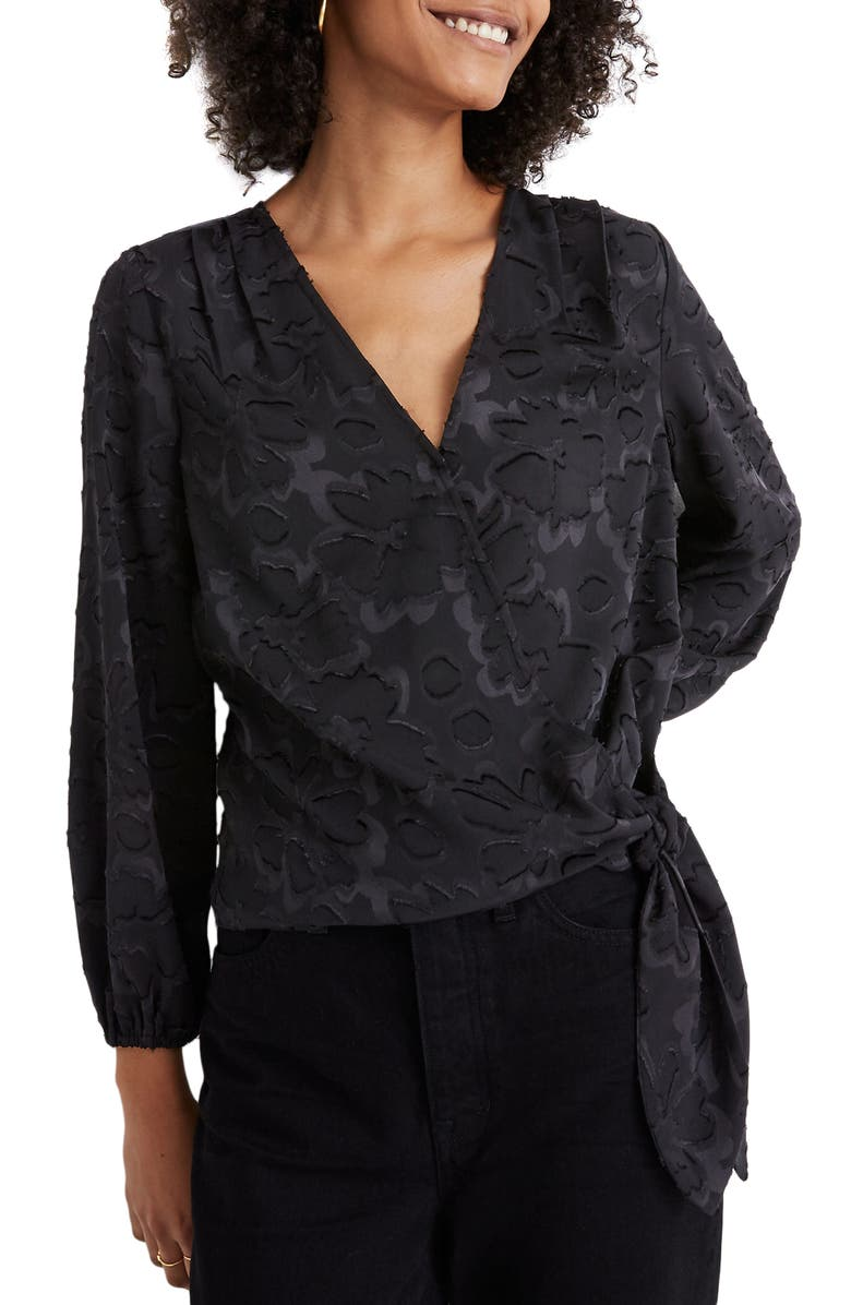 MADEWELL Floral Jacquard Wrap Top, Main, color, 001