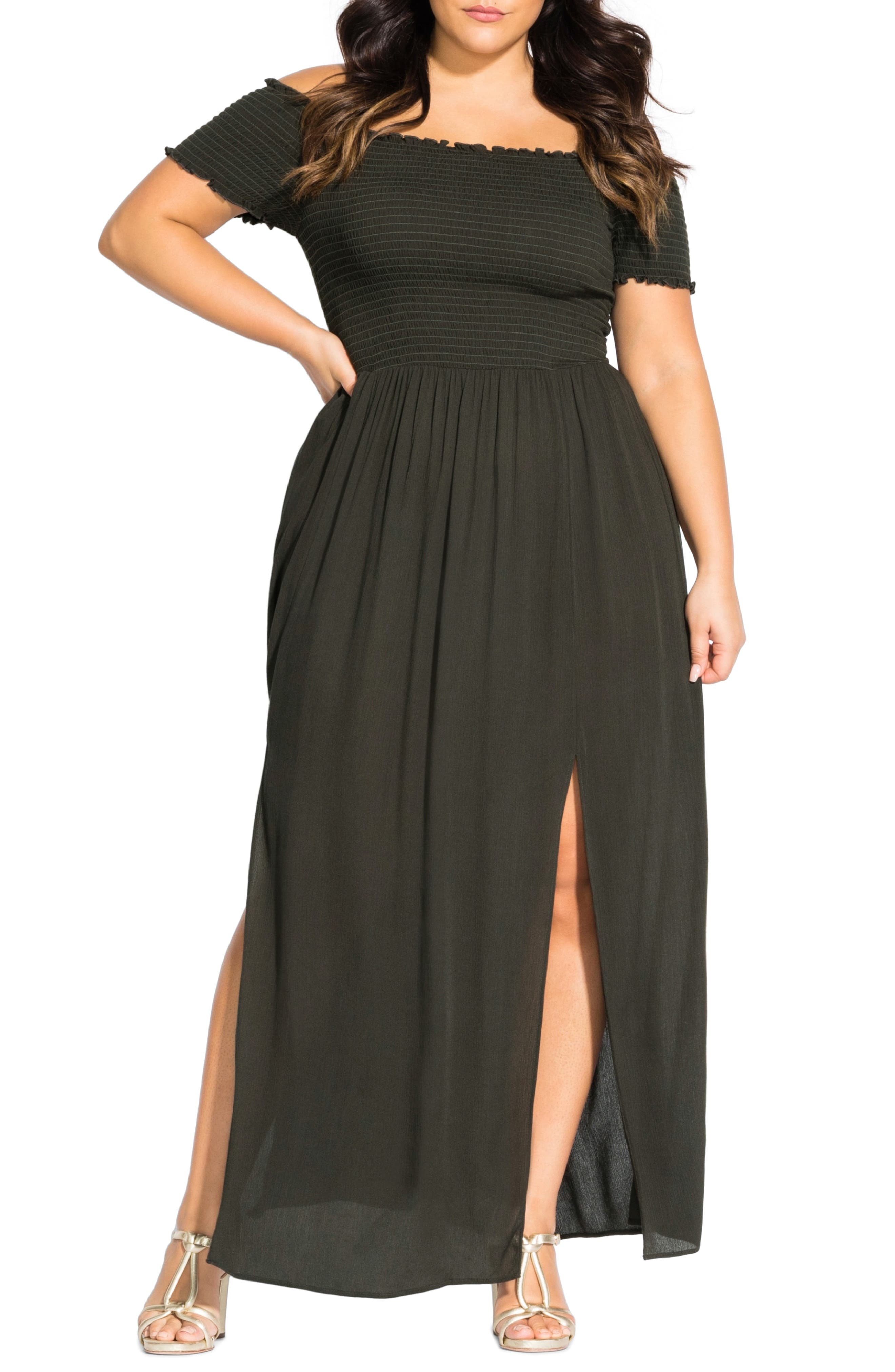 Plus Size City Chic Summer Passion Off The Shoulder Maxi Sundress, Green