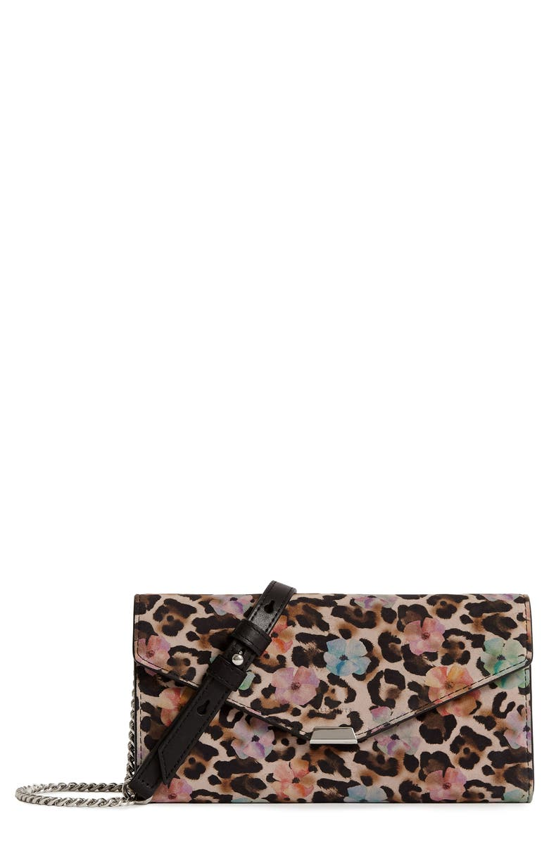 ALLSAINTS Kepi Calfskin Suede Wallet on a Chain, Main, color, FLOWER LEOPARD
