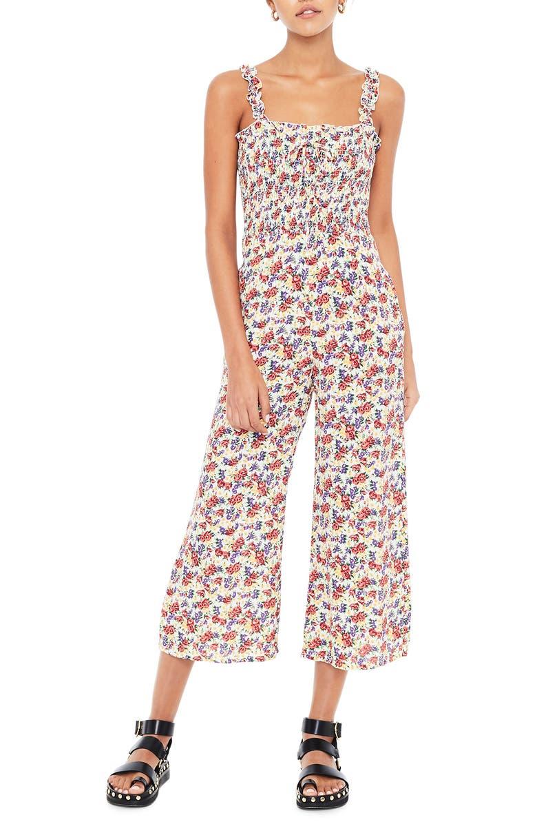 FAITHFULL THE BRAND Bernard Floral Smocked Crop Jumpsuit, Main, color, LUMINA FLORAL PRINT