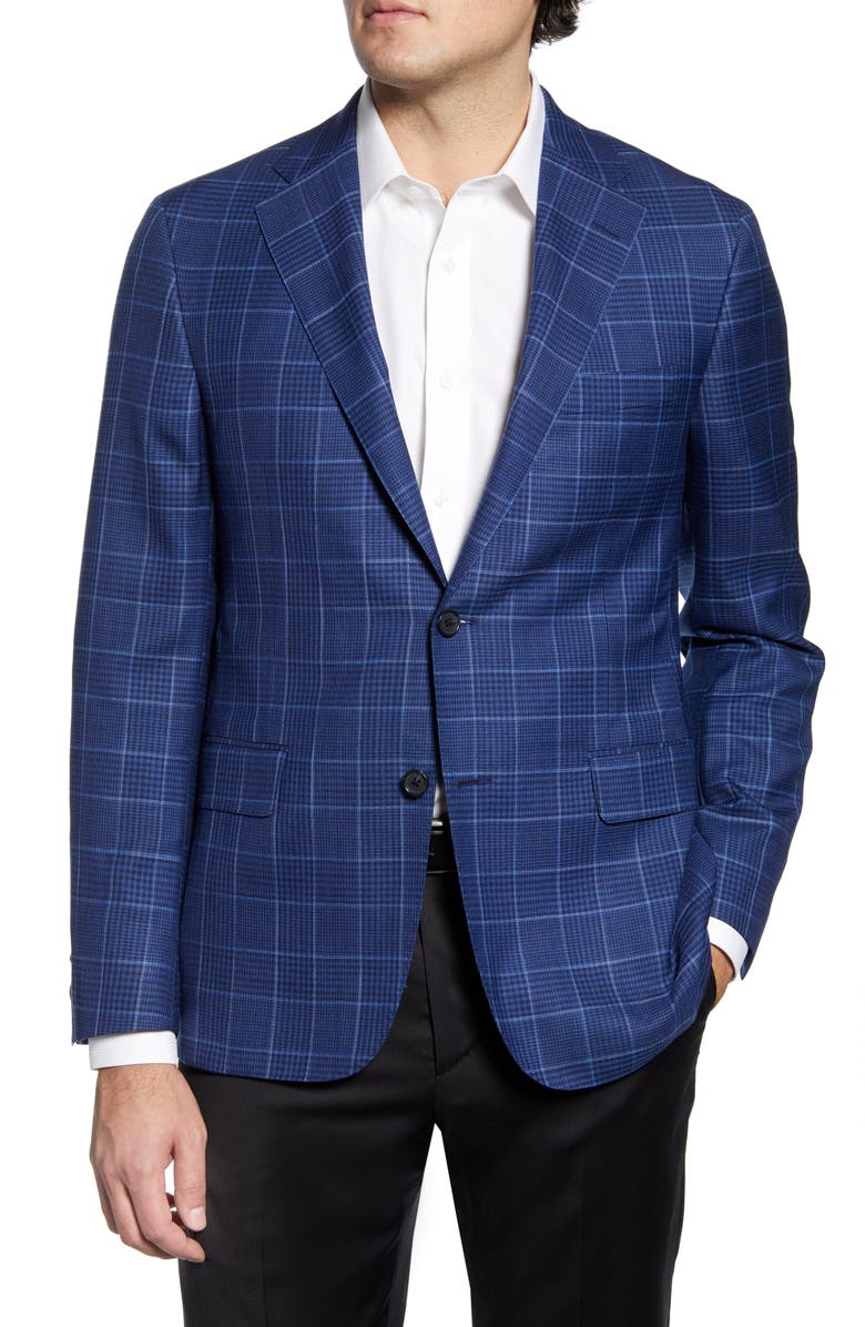 HICKEY FREEMAN Classic Fit Plaid Wool & Silk Sport Coat, Main, color, 422