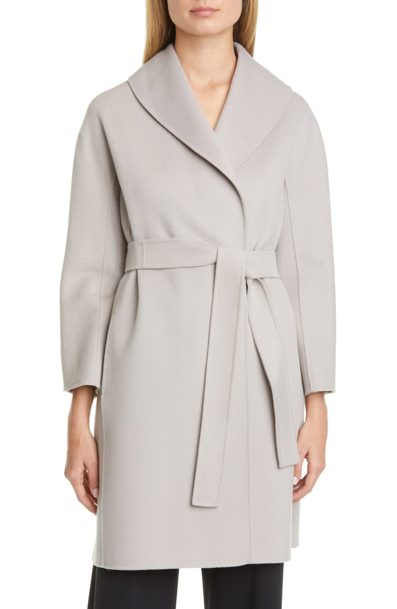 MAX MARA Messi Wool Wrap Coat, Main, color, LIGHT GREY
