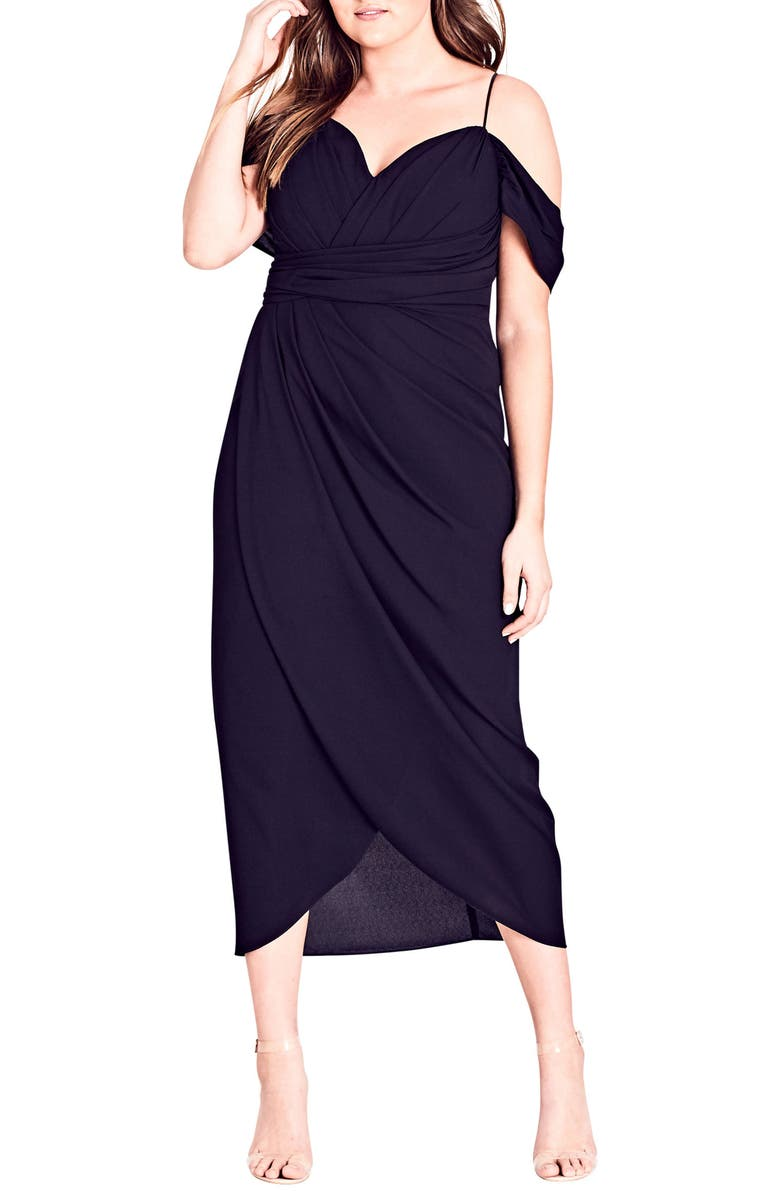 CITY CHIC Entwine Cold Shoulder Maxi Dress, Main, color, BLACK