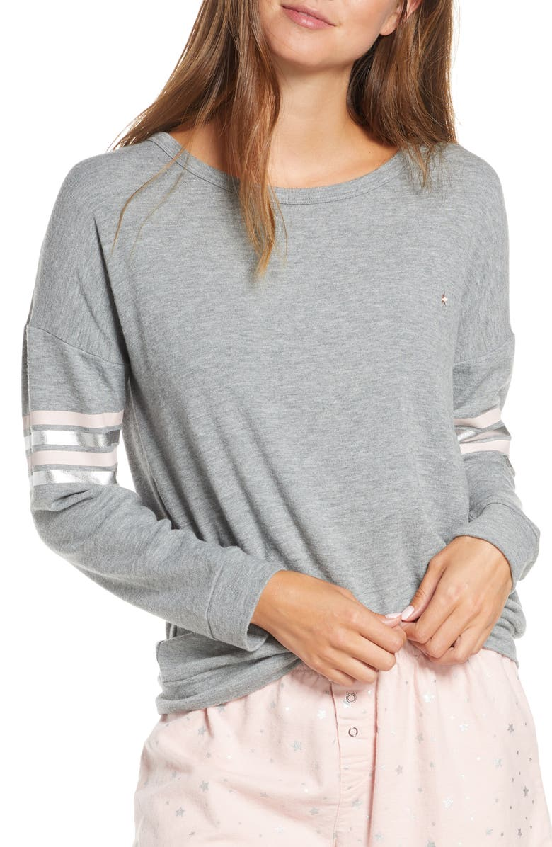 PJ SALVAGE Chesea Long Sleeve Pajama Top, Main, color, HEATHER GREY