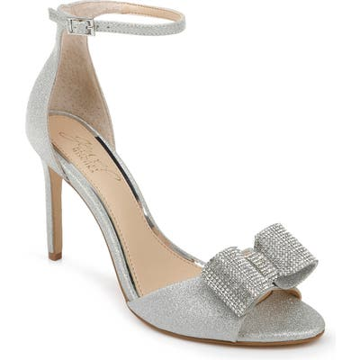 Jewel Badgley Mischka Urania Crystal Bow Ankle Strap Sandal- Metallic