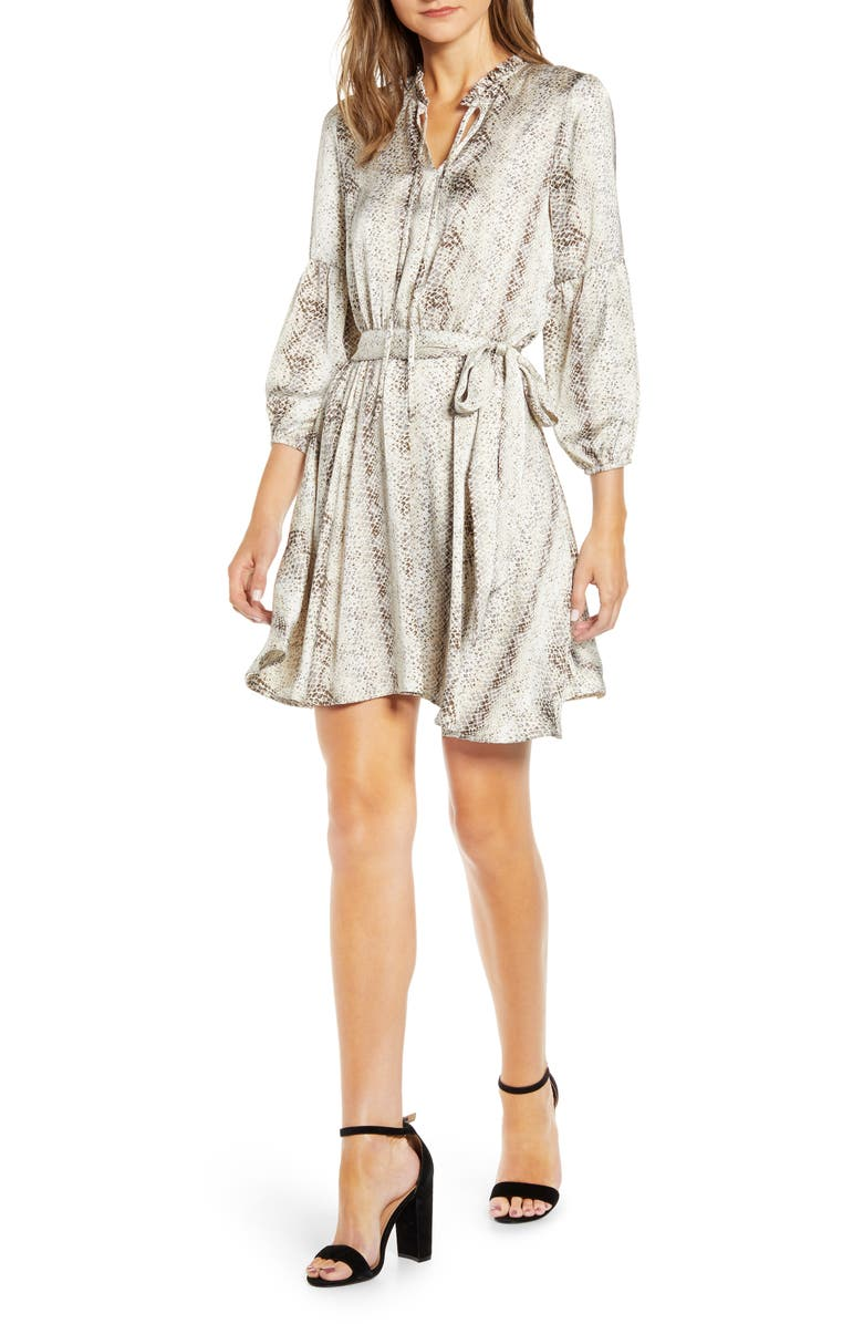 X City Safari Tara Gibson Tie Neck Satin Dress by Gibson
