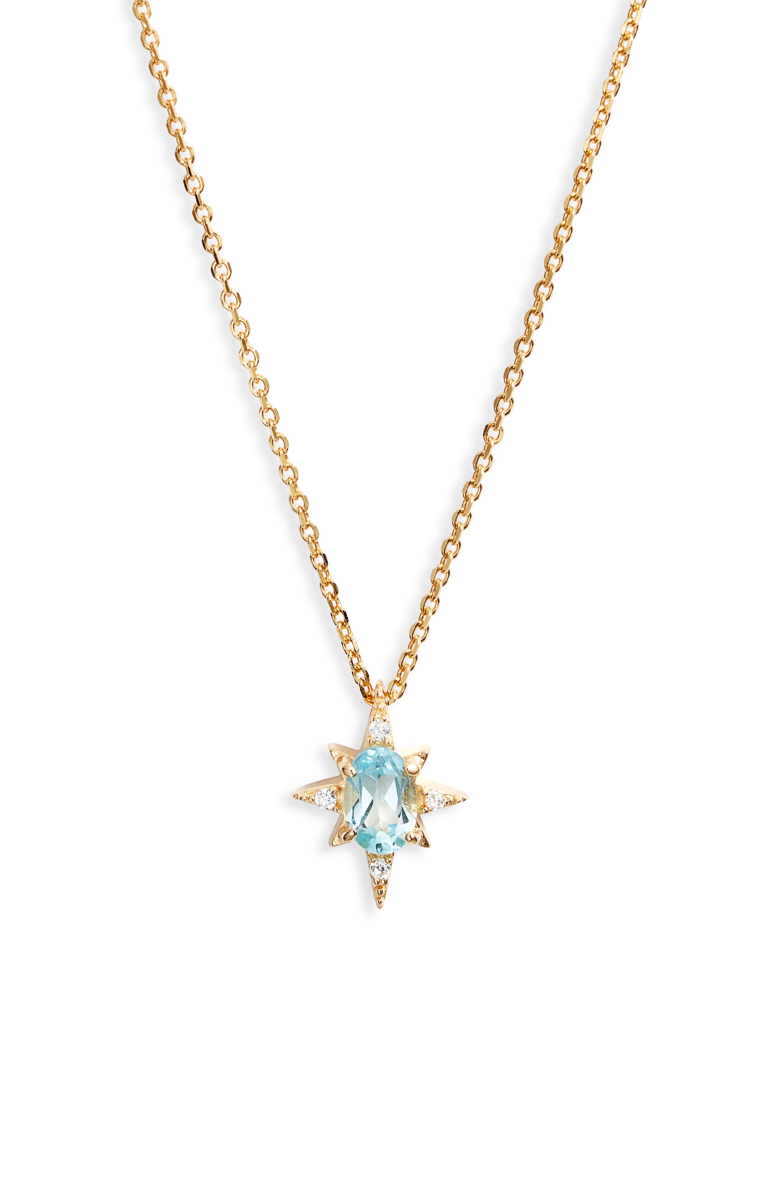 Aquamarine Starburst Pendant Necklace