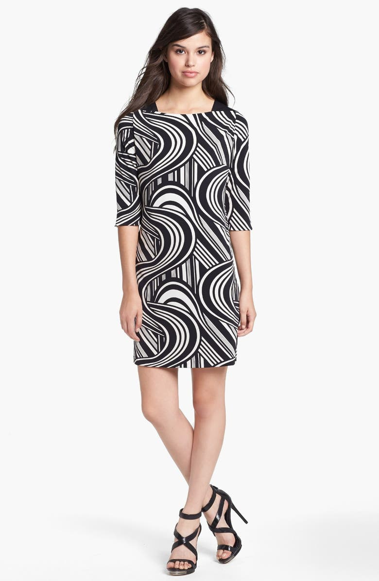ELIZA J Faux Leather Trim Print Shift Dress, Main, color, 019