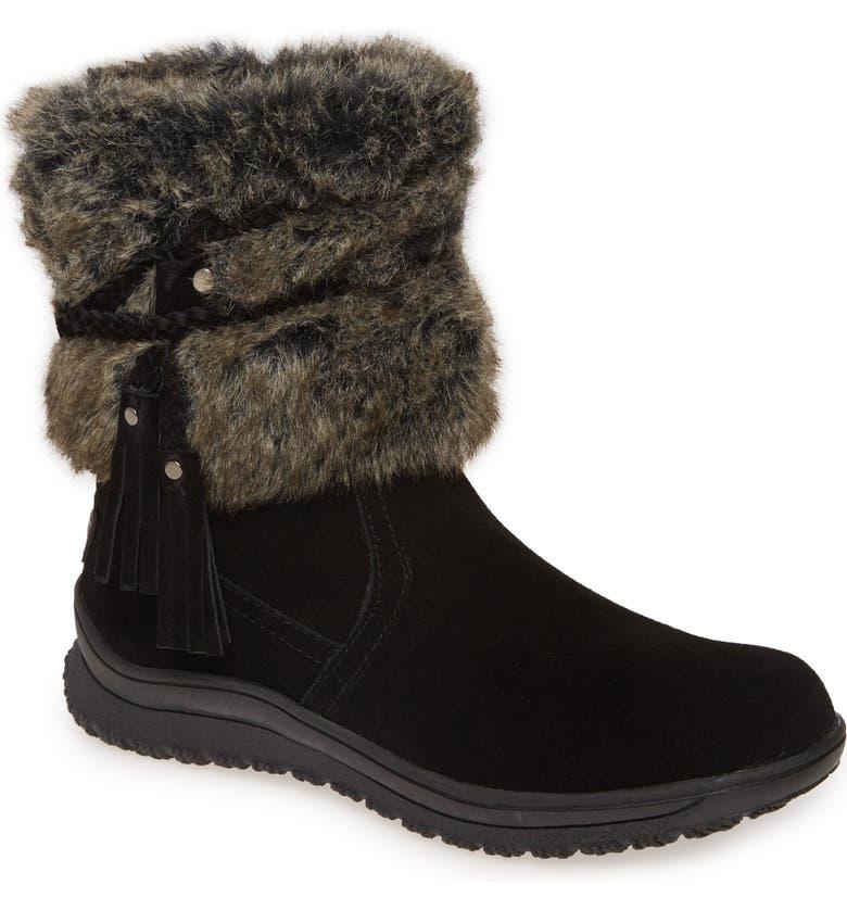 MINNETONKA Everett Water Resistant Faux Fur Boot, Main, color, BLACK SUEDE/ FAUX FUR