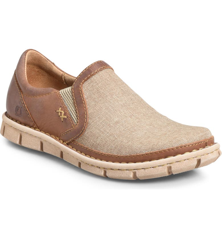 BØRN 'Sawyer' Leather Slip-On, Main, color, NATURAL/ LIGHT BROWN LEATHER