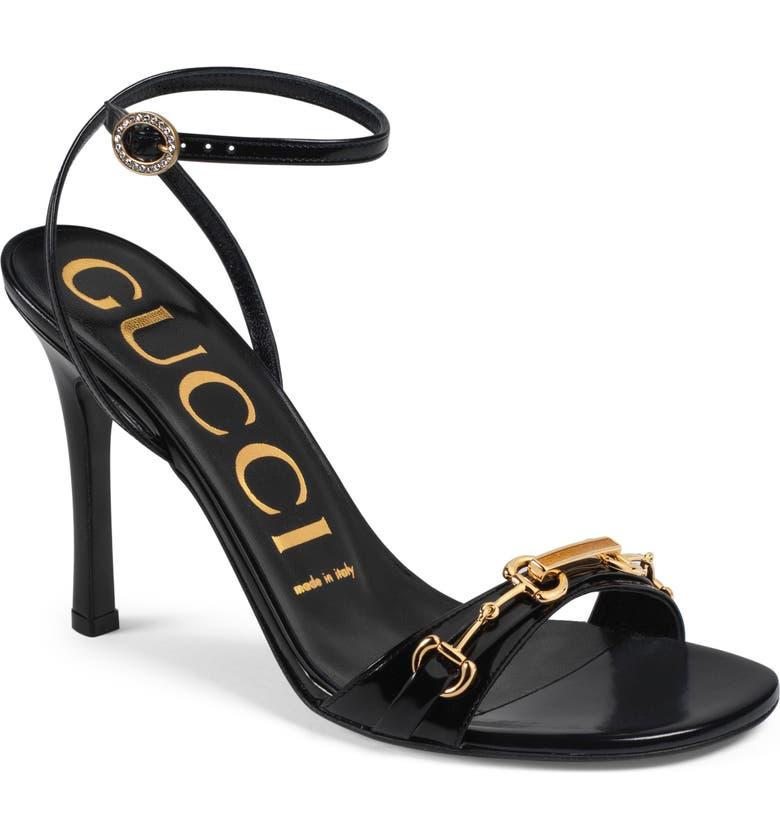 GUCCI Moorea Horsebit Strappy Sandal, Main, color, BLACK