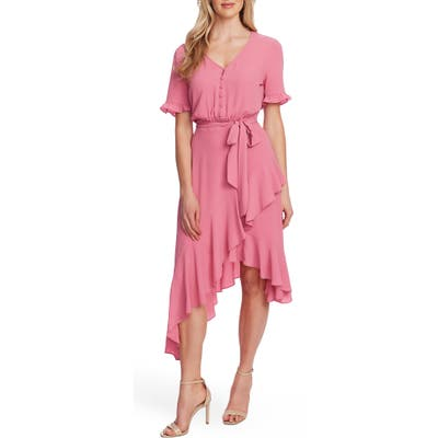 Cece Ruffle Belted High/low Dress, Pink