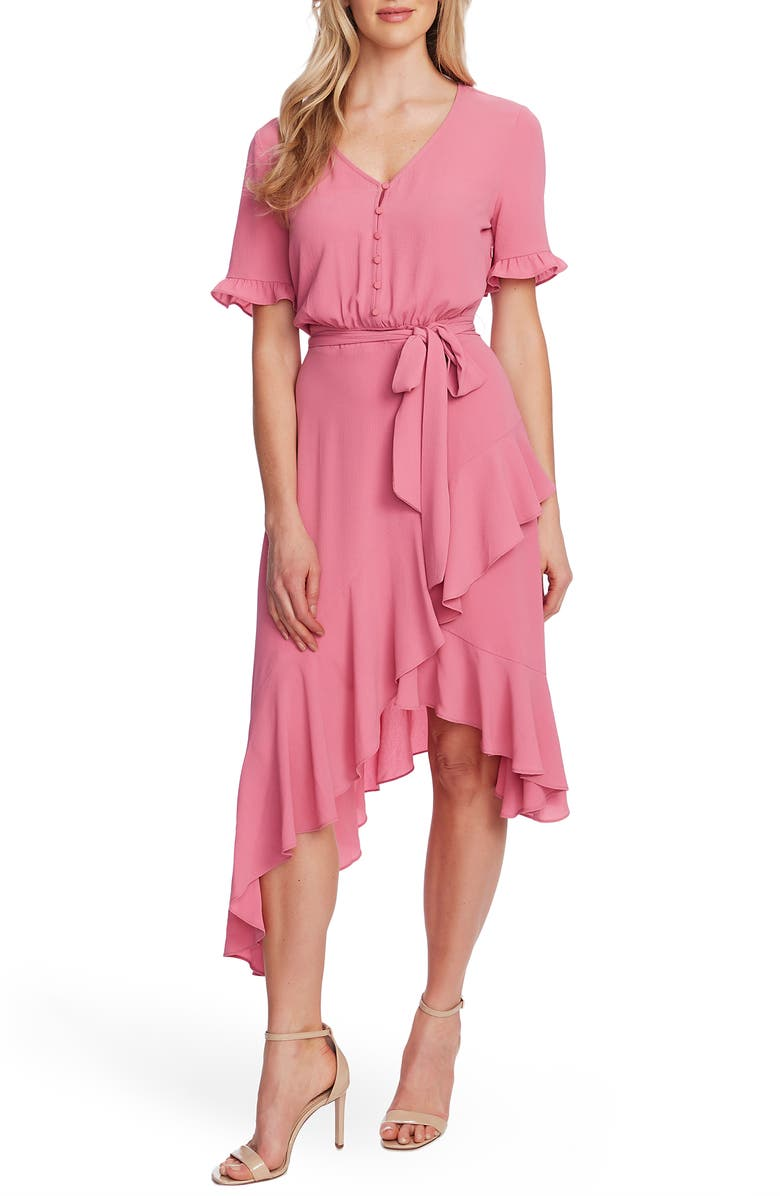 CECE Ruffle Belted High/Low Dress, Main, color, SWEET ROSE