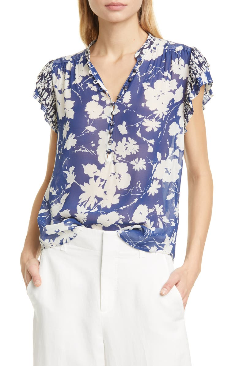 POLO RALPH LAUREN Floral Short Sleeve Georgette Top, Main, color, ROYAL FLORAL