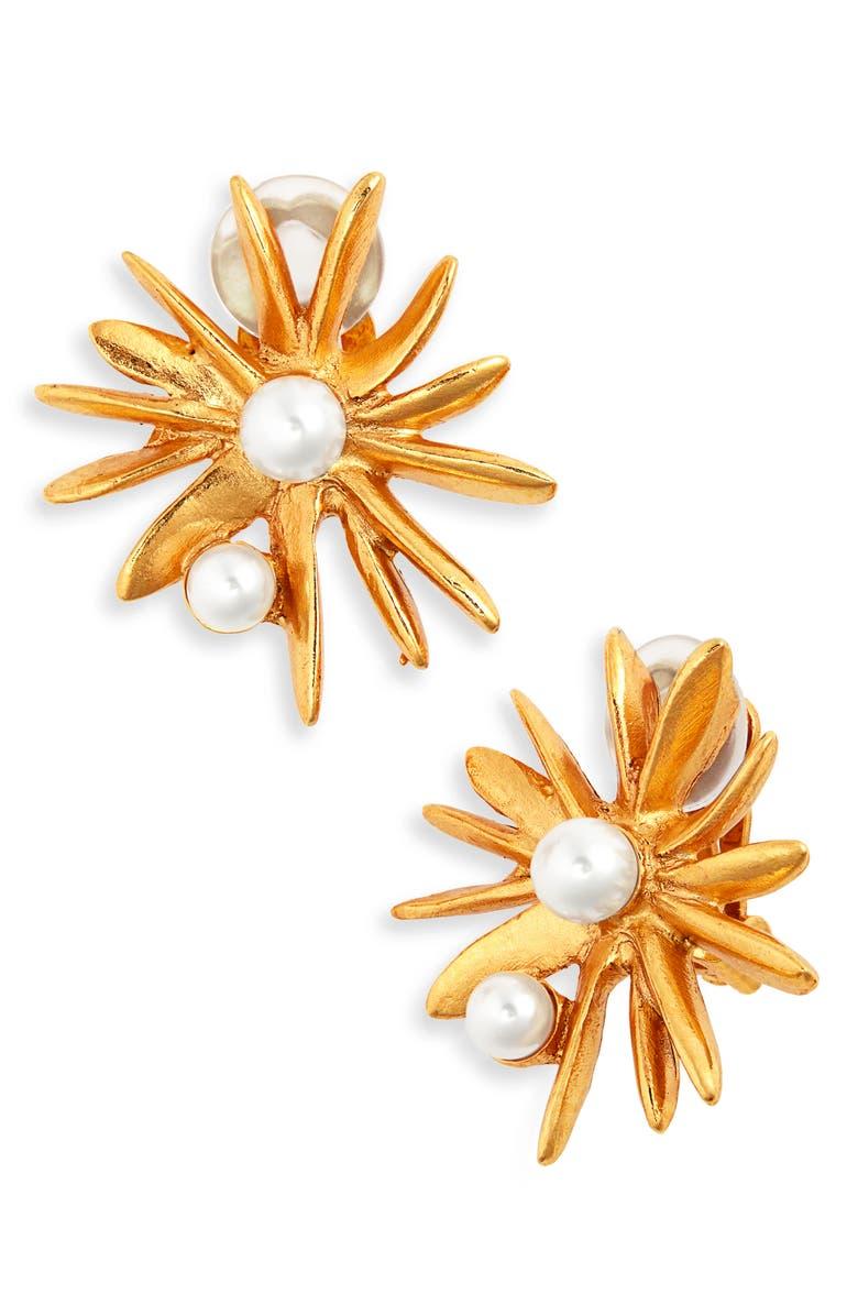 OSCAR DE LA RENTA Classic Sunburst Button Clip Earrings, Main, color, GOLD