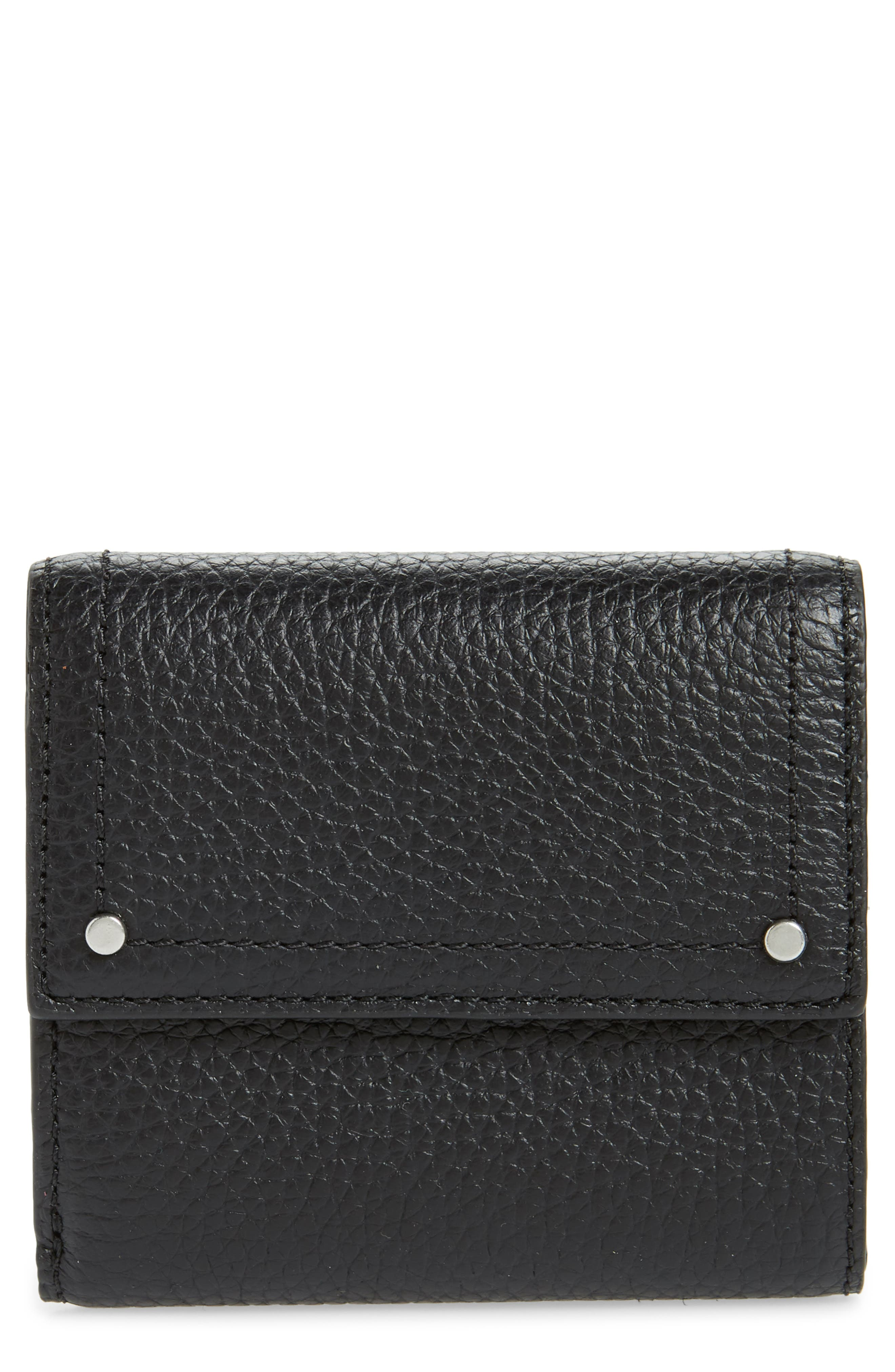 ,                             Tracy Leather Trifold Wallet,                             Main thumbnail 1, color,                             BLACK