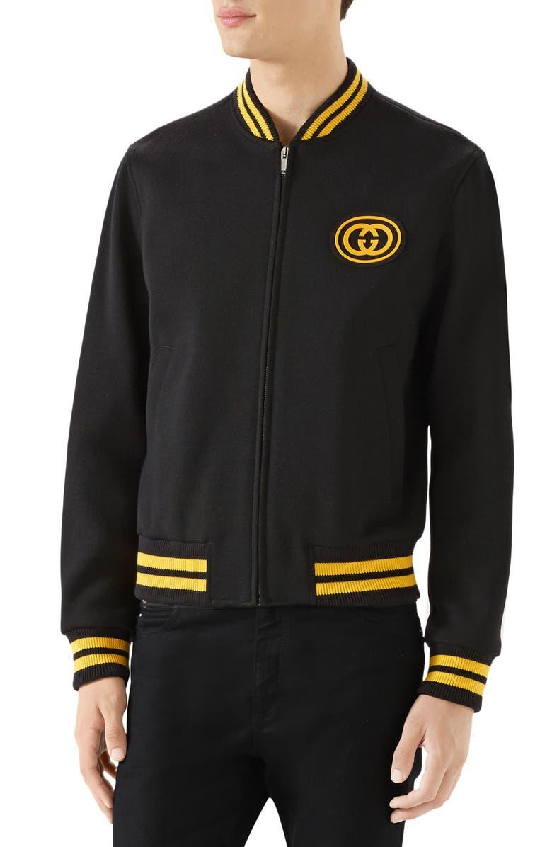 GUCCI Jersey Varsity Jacket, Main, color, BLACK