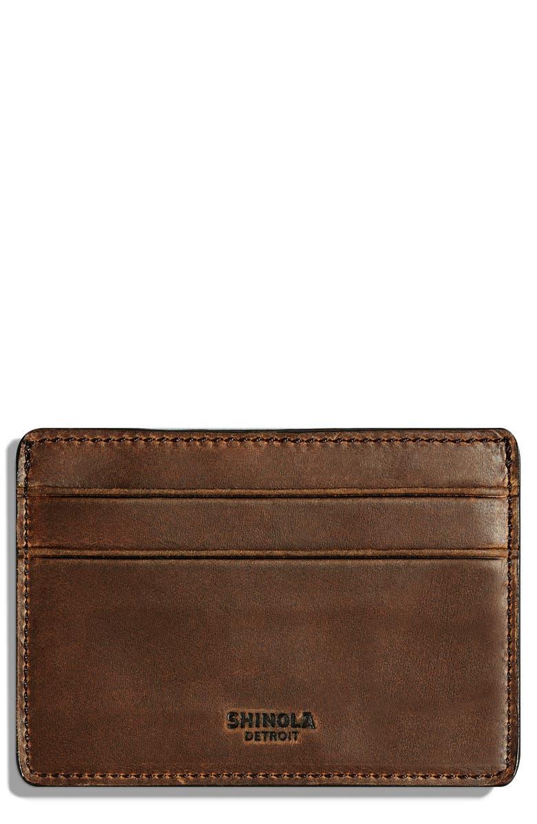 SHINOLA Leather Card Case, Main, color, MEDIUM BROWN