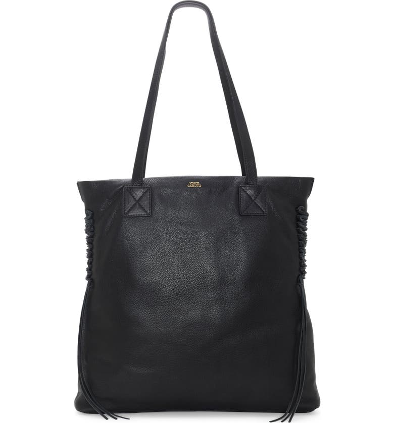 VINCE CAMUTO Jayde Leather Tote, Main, color, BLACK