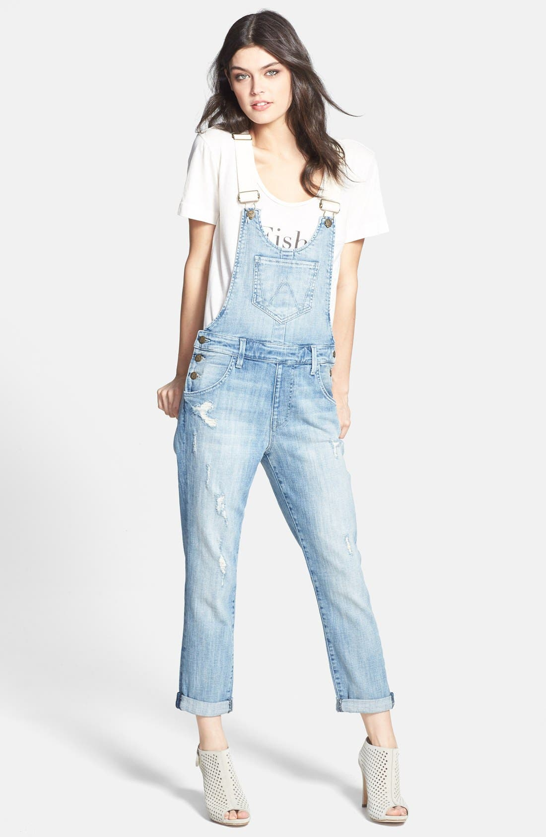'Chloe' Destroyed Overalls, Main, color, 450