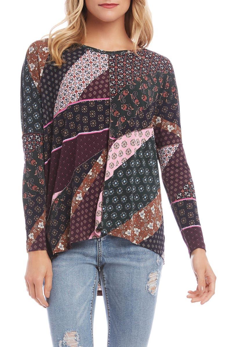 KAREN KANE Asymmetrical Patchwork Top, Main, color, PRINT