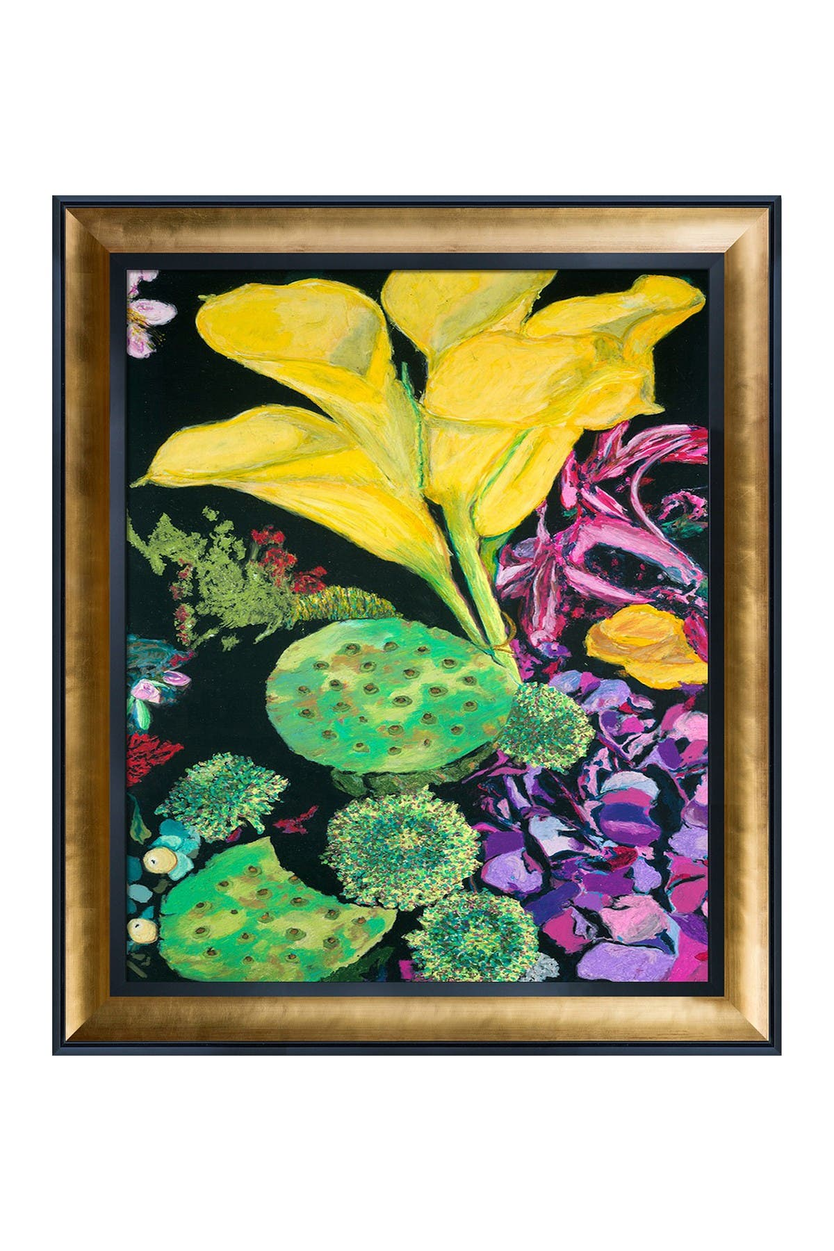 Image of Overstock Art Yellow Cala with Gold Luminoso and Black Custom Stacked Frame