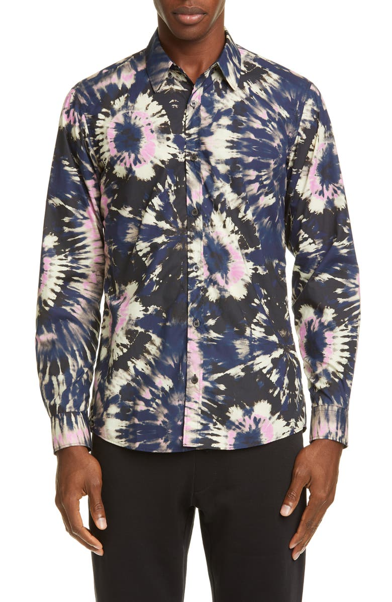DRIES VAN NOTEN Tie Dye Print Button-Up Shirt, Main, color, NAVY