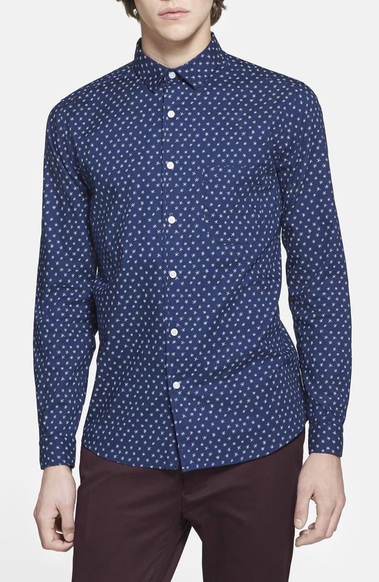 TOPMAN Star Print Cotton Shirt, Main, color, 400