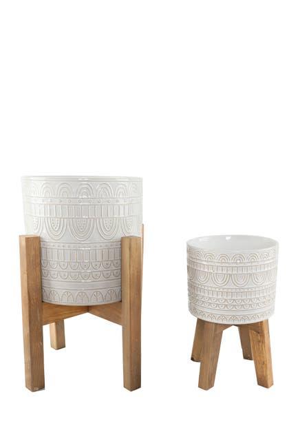 "Image of FLORA BUNDA 10"" & 8"" Aqueduct Ceramic Planter on Wood Stand - Set of 2"