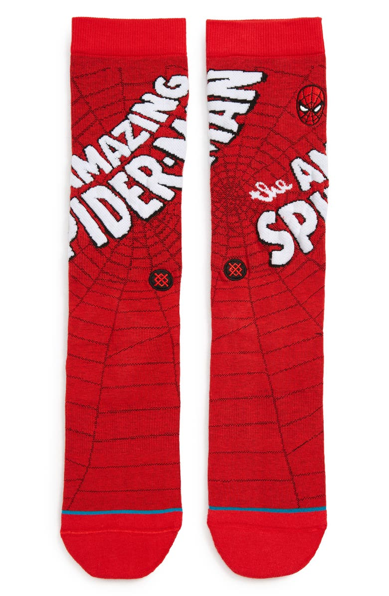 STANCE Amazing Spider-Man Socks, Main, color, RED