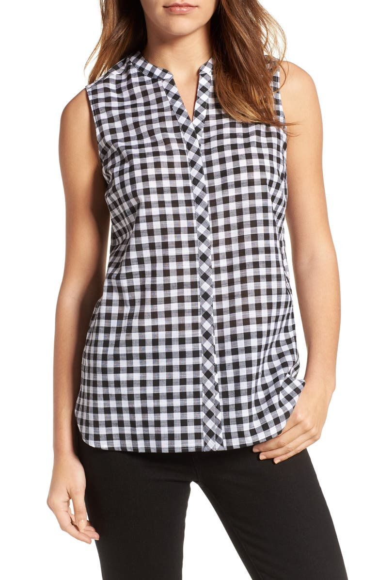 FOXCROFT Gingham Sleeveless Shirt, Main, color, 001