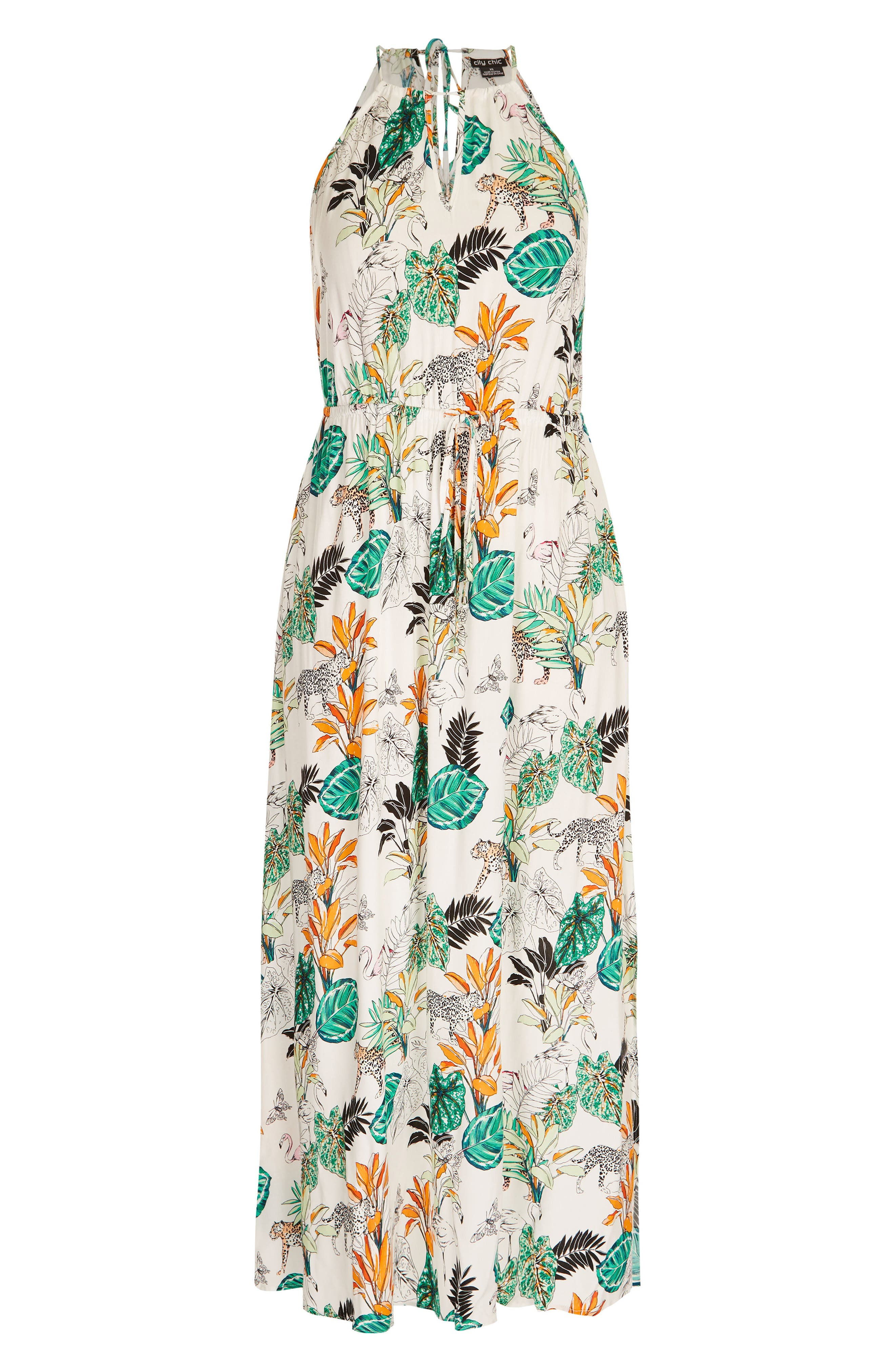 ,                             Jungle Study Drawstring Maxi Dress,                             Alternate thumbnail 3, color,                             JUNGLE STUDY