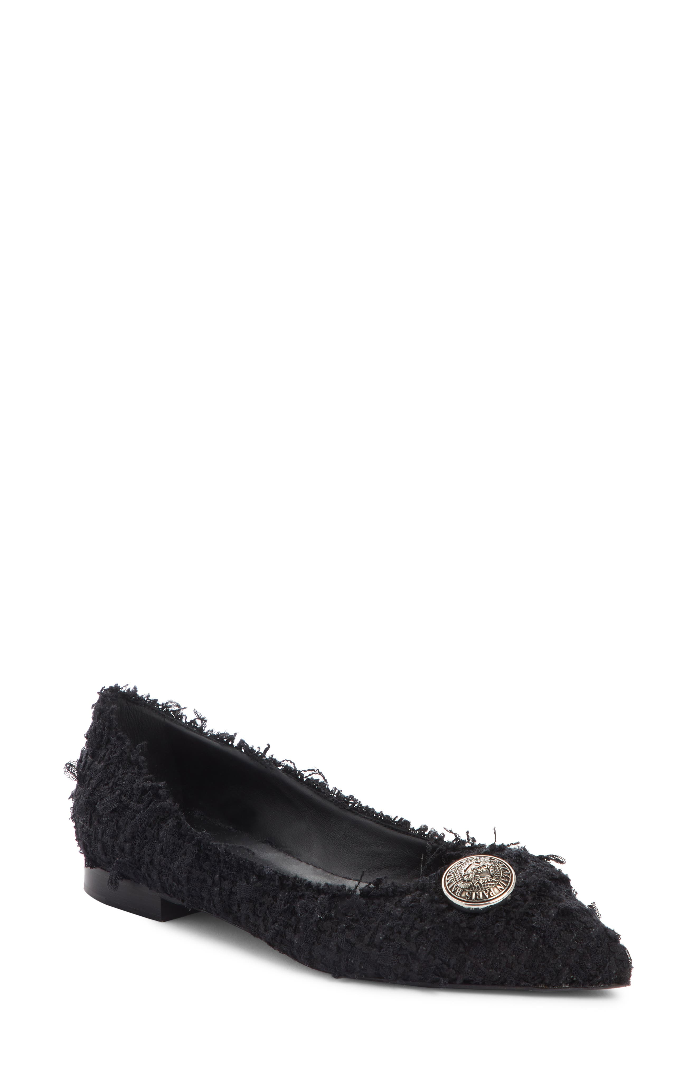 Balmain Jolie Pointy Toe Flat, Black