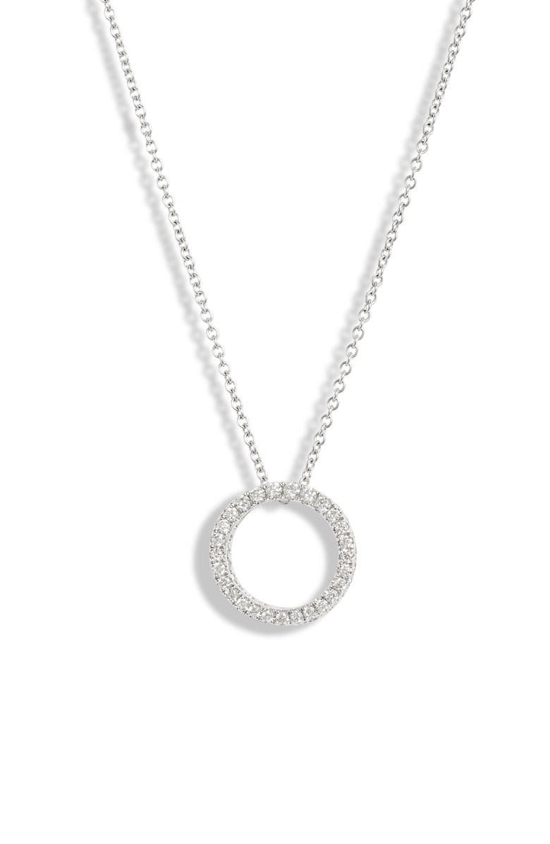BONY LEVY 3D Small Diamond Circle Pendant Necklace, Main, color, WHITE GOLD/ DIAMOND