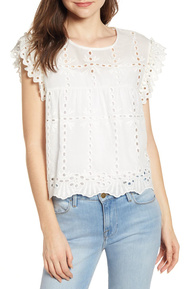 BISHOP + YOUNG Babydoll Pompom Top, Main, color, 100