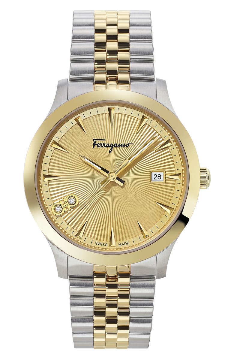 SALVATORE FERRAGAMO Duo Diamond Bracelet Watch, 40mm, Main, color, 711