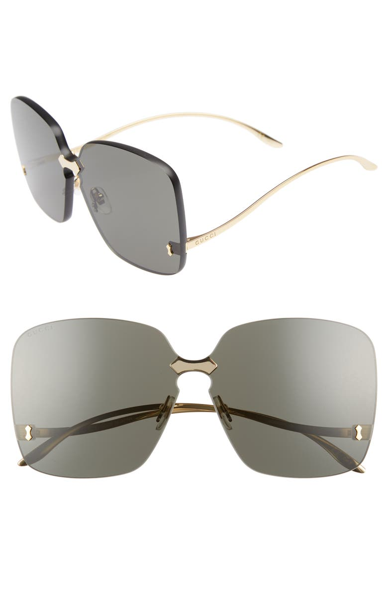 GUCCI 99mm Rimless Sunglasses, Main, color, GOLD