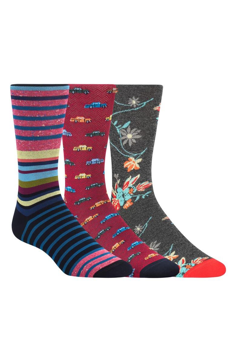 BUGATCHI 3-Pack Sock Gift Set, Main, color, 027