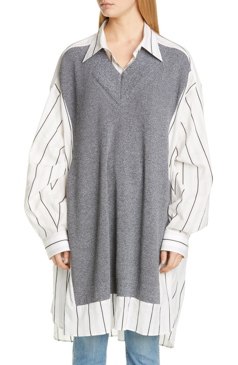 MAISON MARGIELA Stripe Oversize Cotton Shirt, Main, color, OFF WHITE WITH BLACK