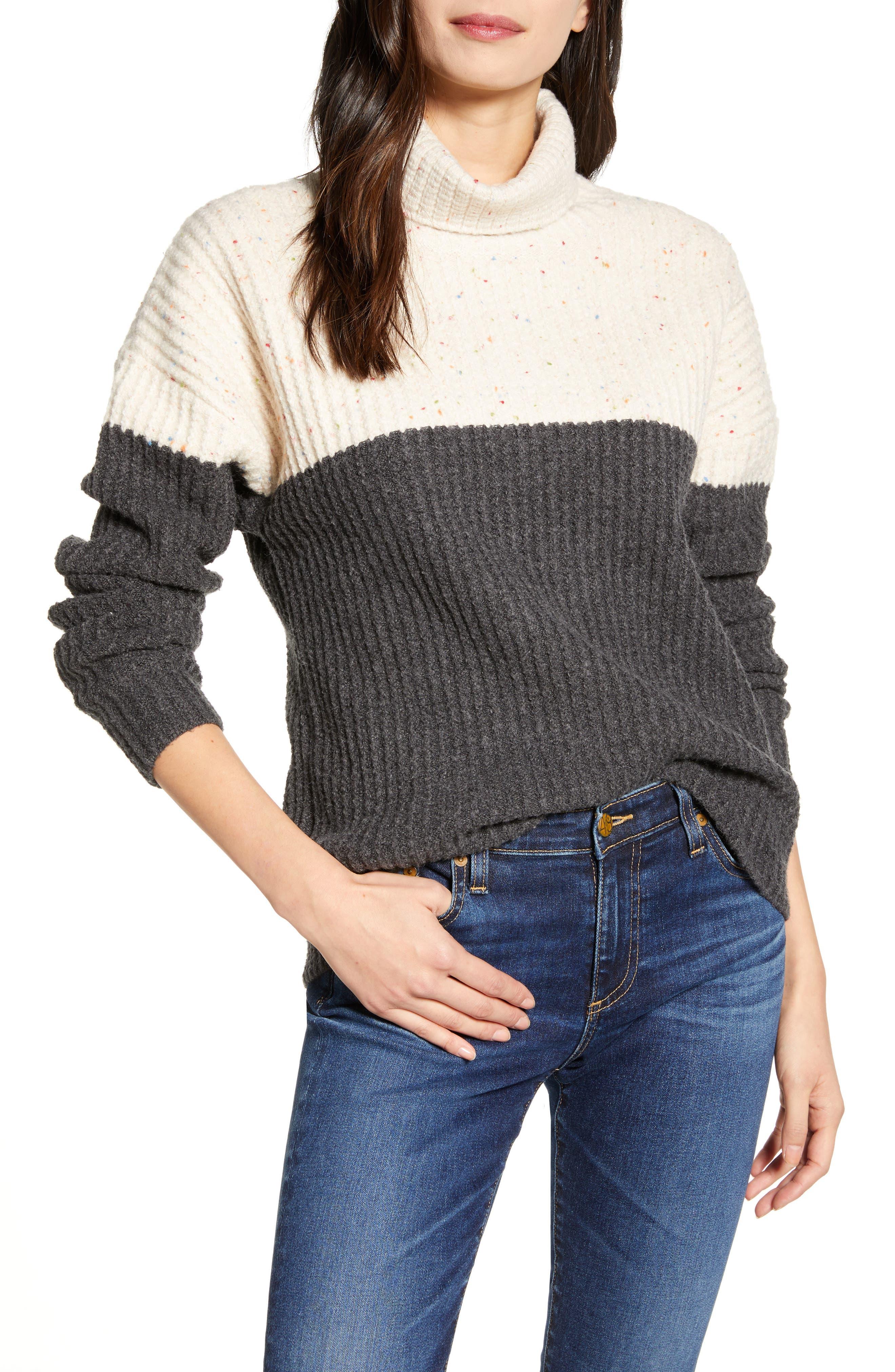 Chelsea28 Colorblock Turtleneck Sweater