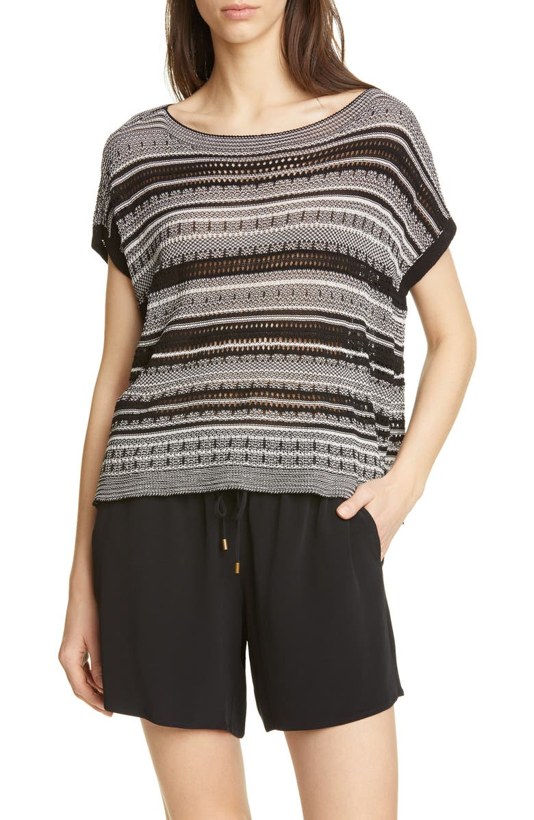 EILEEN FISHER Stripe Short Sleeve Organic Cotton Blend Sweater, Main, color, 015